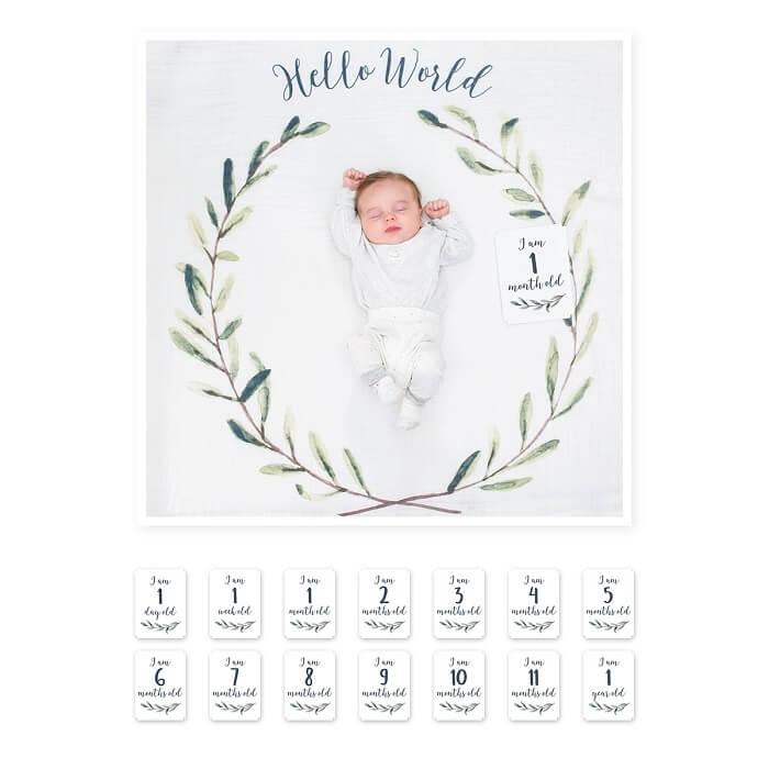 Lulujo beebi esimese aasta tekk ja kaardid Hello World